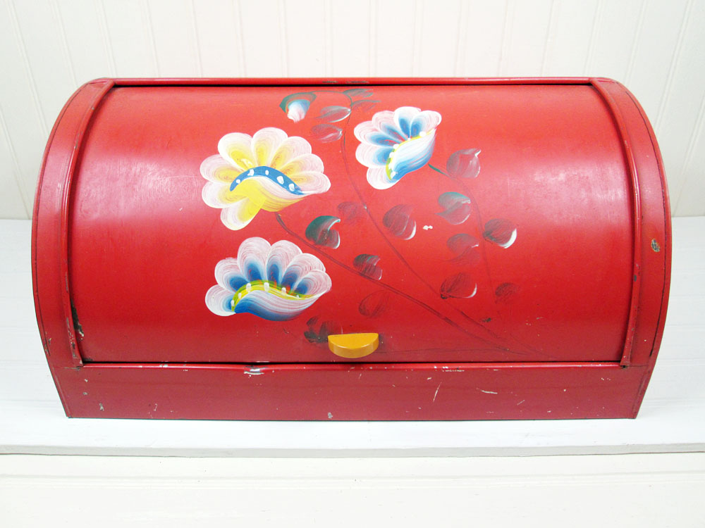 Vintage Red Metal Breadbox Roll Top Tole Ware