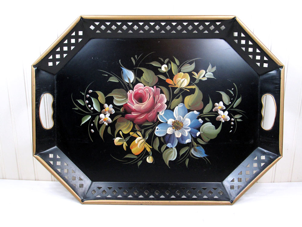 Vintage Nashco Black Metal Toleware Tray Flowers