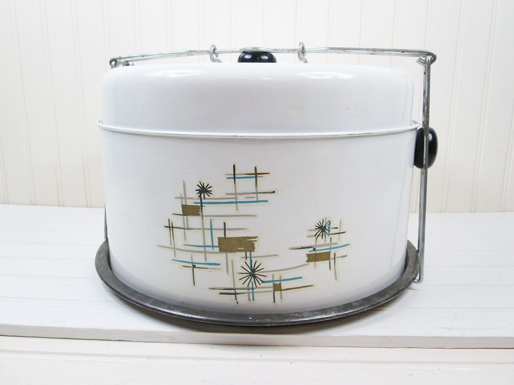 Vintage Metal Cake Pie Carrier Saver Taker Starburst Design