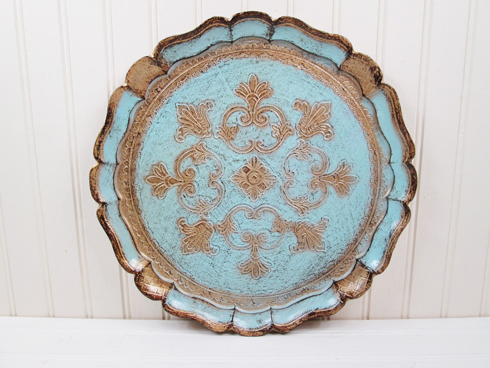 Vintage Florentine Gilt Gold Aqua Wood Serving Tray Italy