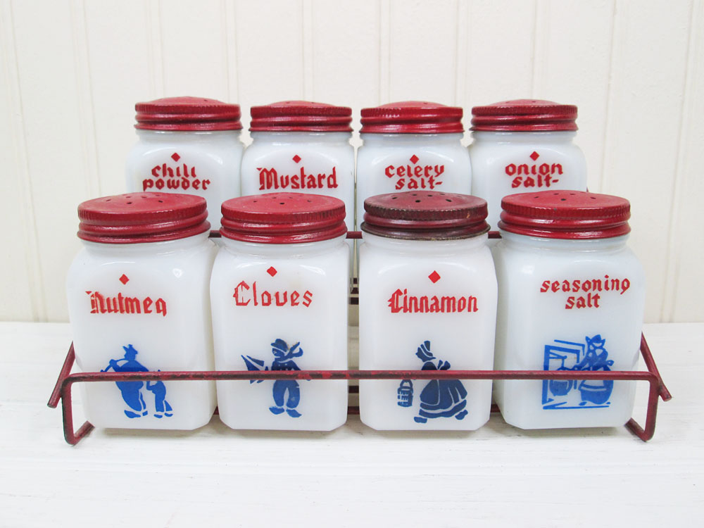 Vintage Tipp City Dove Milk Glass Dutch Spice Jars Set