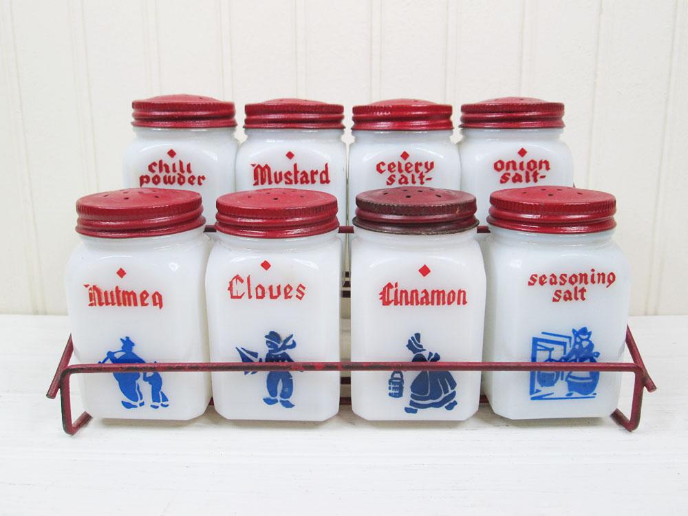 Vintage Tipp City Dove Milk Glass Dutch Spice Jars Set