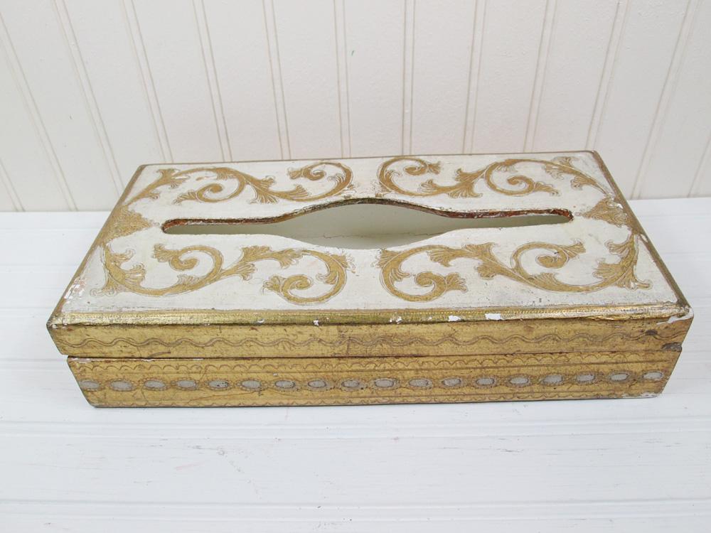 Vintage Florentia Tissue Box Gold Gilt Wood Italy