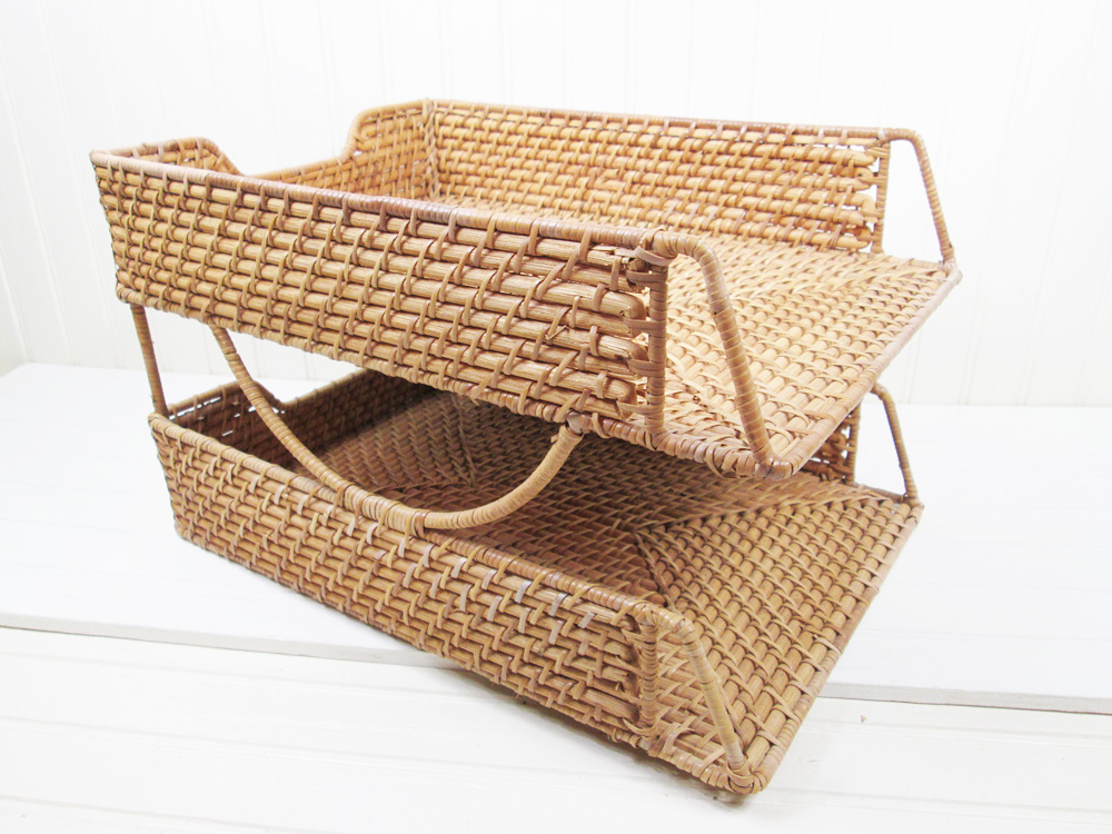 Vintage Wicker Basket Paper Tray Desk Organizer