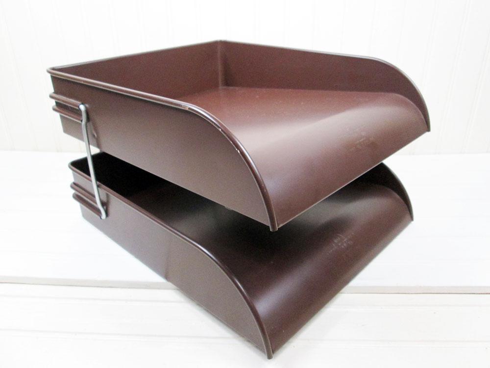 Vintage Brown Metal Paper Tray Desk Organizer Globe-Wernicke