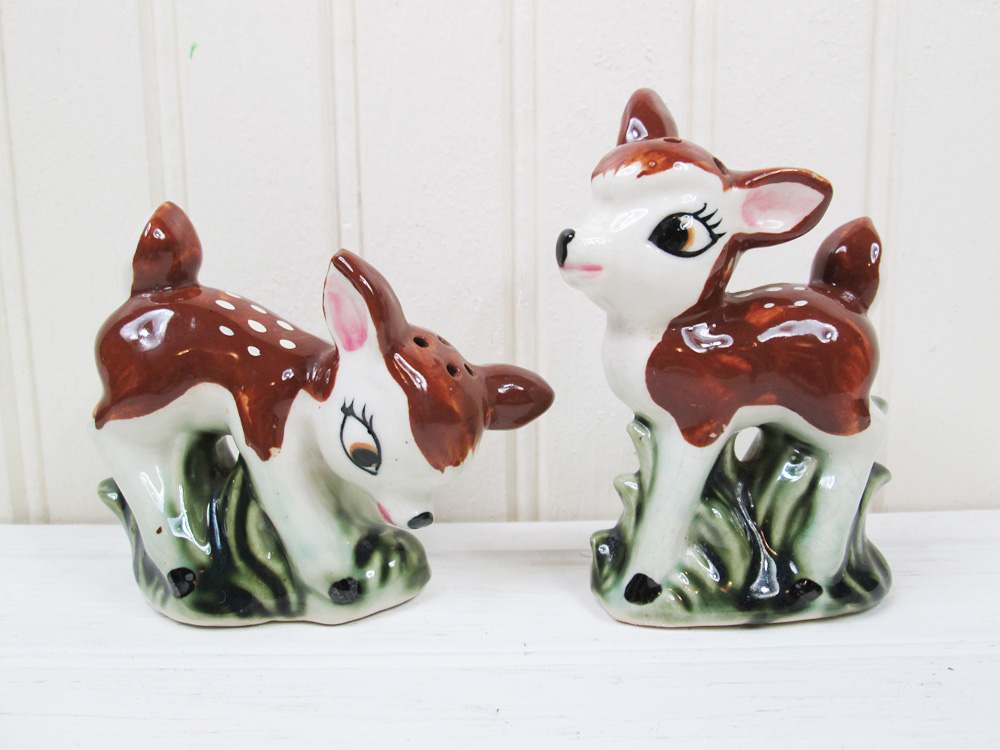 Vintage Ceramic Deer Salt & Pepper Shakers Fawns Japan