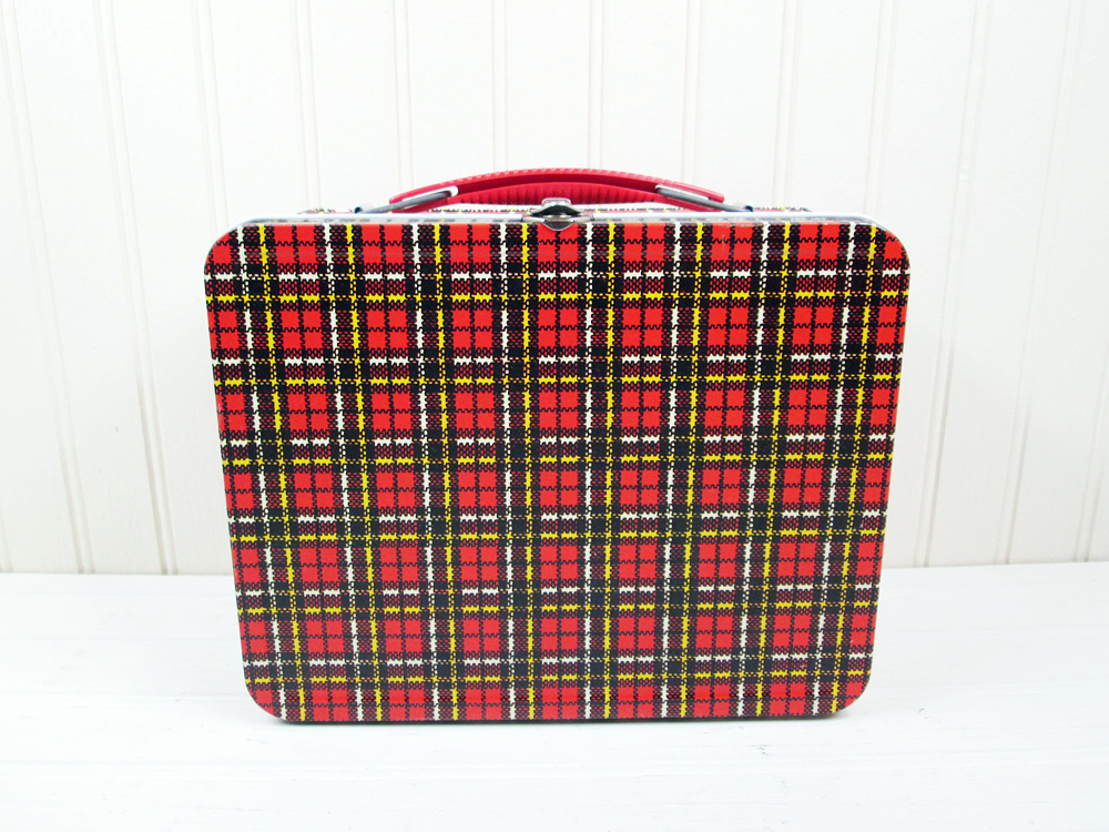 Vintage Ohio Art Red Plaid Metal Lunchbox