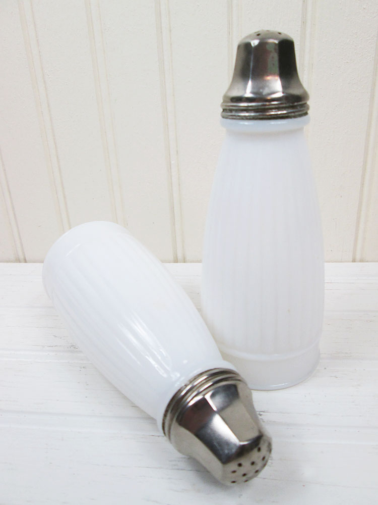 Vintage Ribbed Milk Glass Tall Salt & Pepper Shakers Set