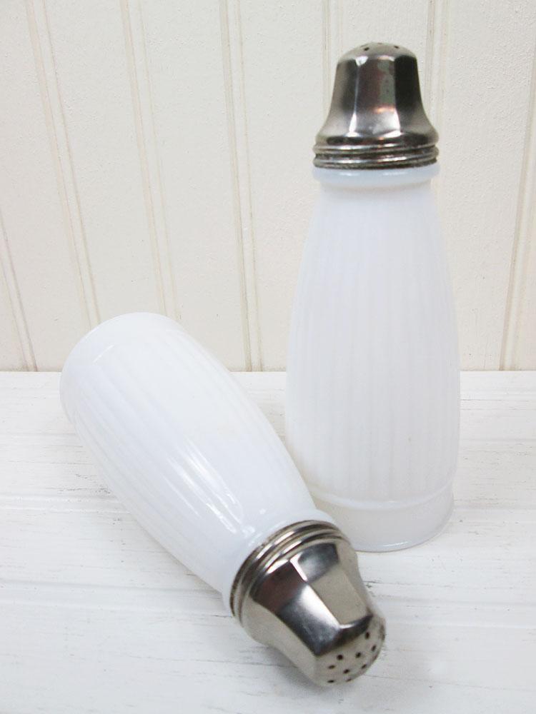 Vintage Ribbed Milk Glass Tall Salt & Pepper Shakers Set
