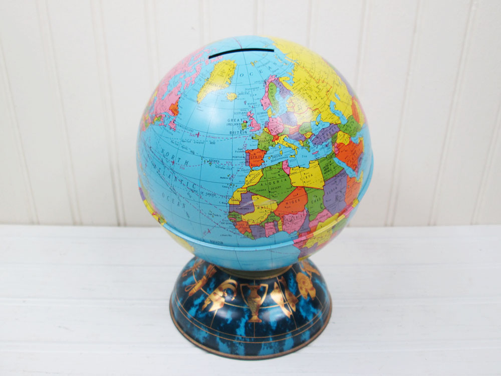 Vintage Ohio Art Globe Bank Zodiac Signs Base
