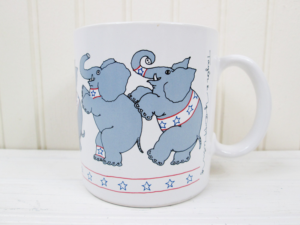 Vintage Taylor & Ng Elephants Republican Coffee Mug