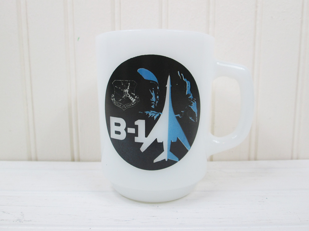 Vintage B-1 Bomber Milk Glass Coffee Mug