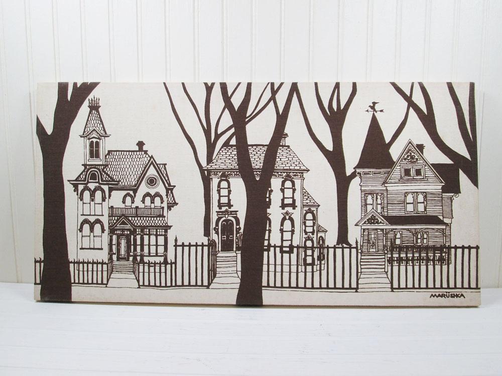 Vintage Marushka Victorian Houses Print