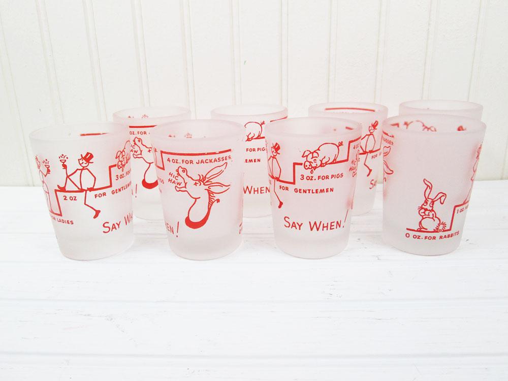 Vintage Hazel Atlas Frosted Shot Glasses Set