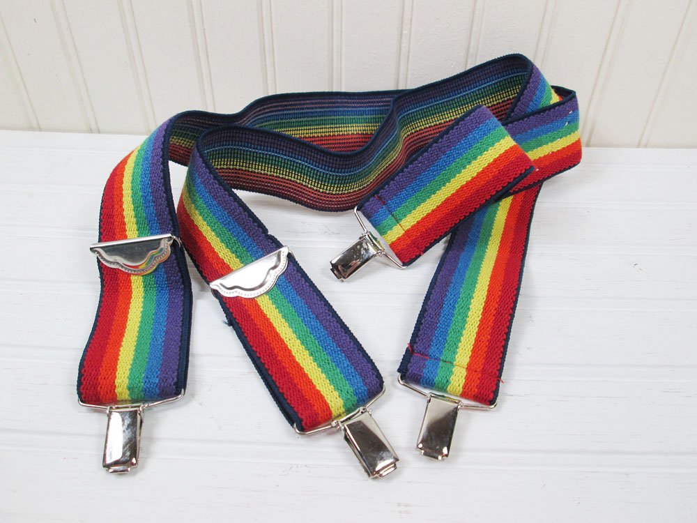 Vintage Rainbow Striped Suspenders West Germany