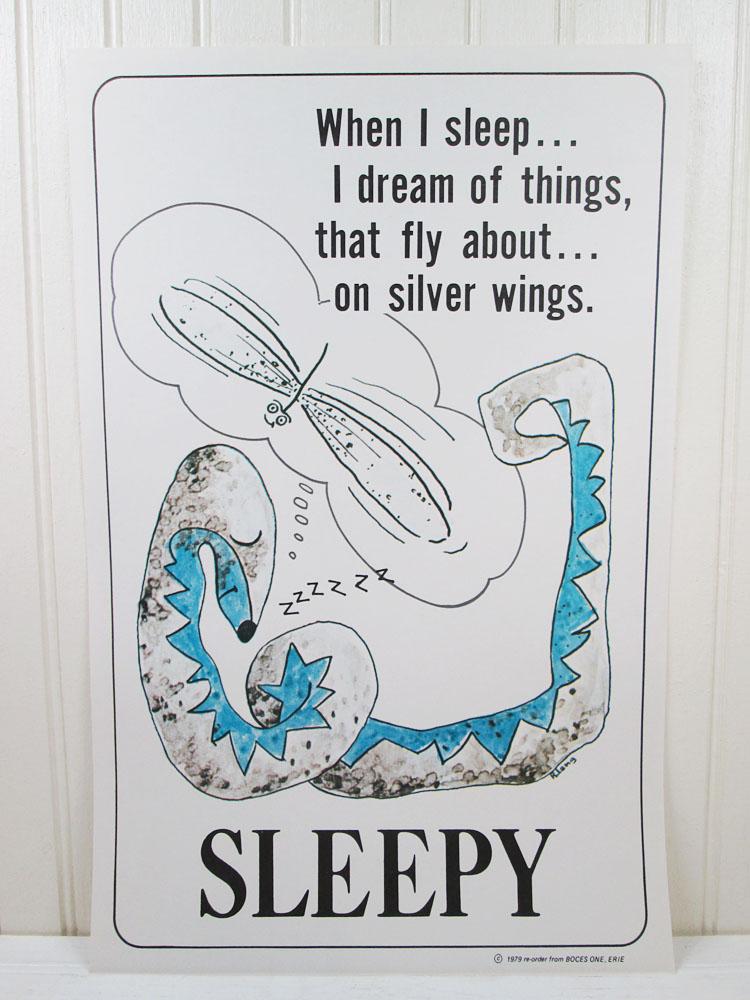 Vintage School Poster Sleepy Snake