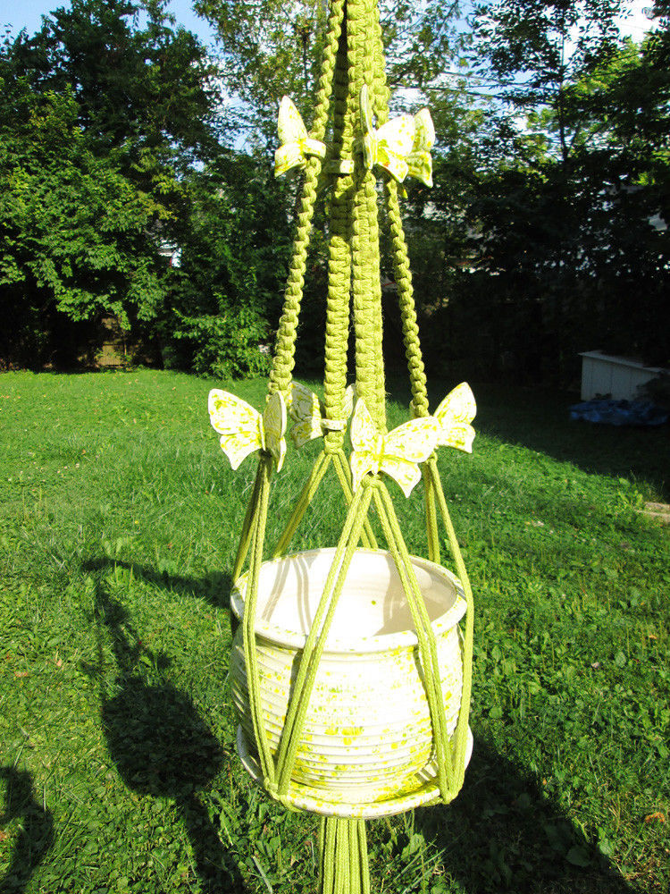 butterfly macrame plant holder