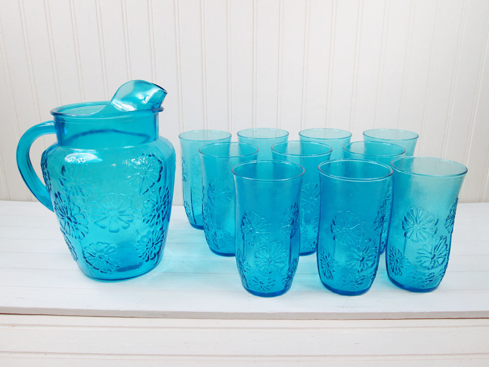 Anchor Hocking Spring Song Blue Glass Pitcher & Tumblers Set