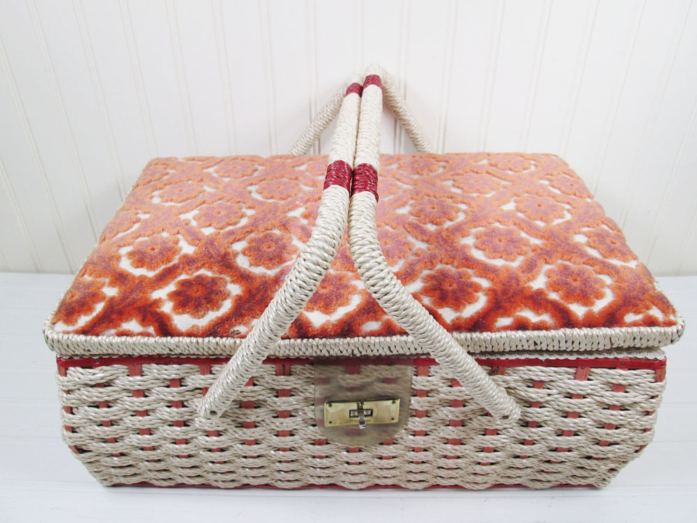 Vintage Sewing Box Wicker Basket Orange Floral Fabric Top
