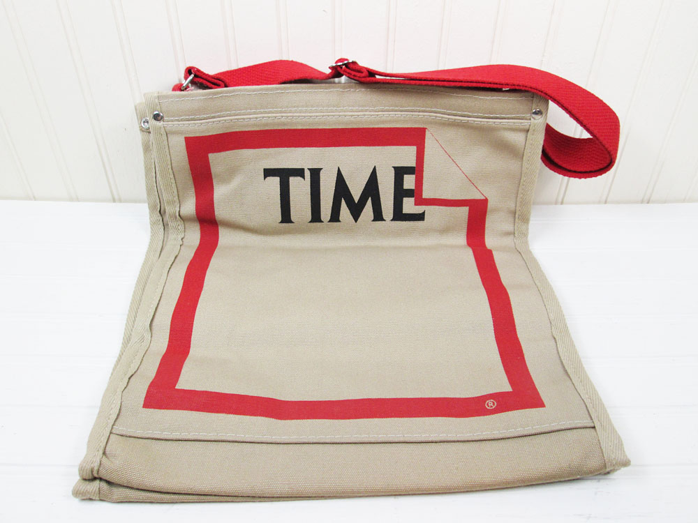 Vintage Time Magazine Tote Bag Canvas Advertising Logo