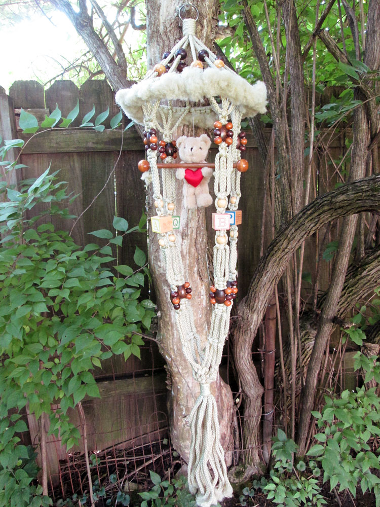 Vintage Macrame Hanging Plant Holder Baby Nursery Blocks & Bear