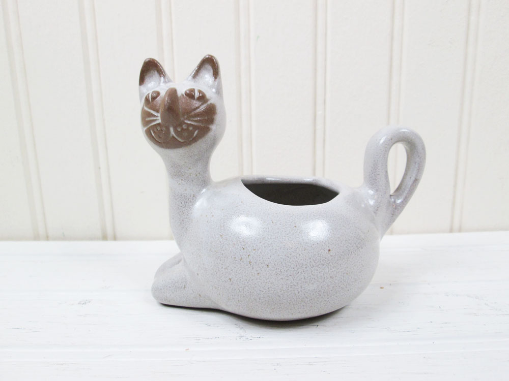 David Stewart Cat Planter Lion's Valley Stoneware