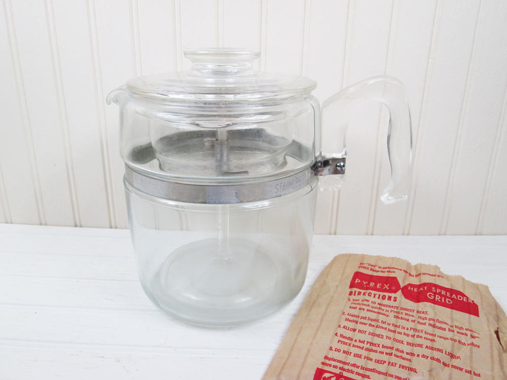 Vintage Pyrex Glass Coffee Maker Flameware 9 Cup Pot Percolator