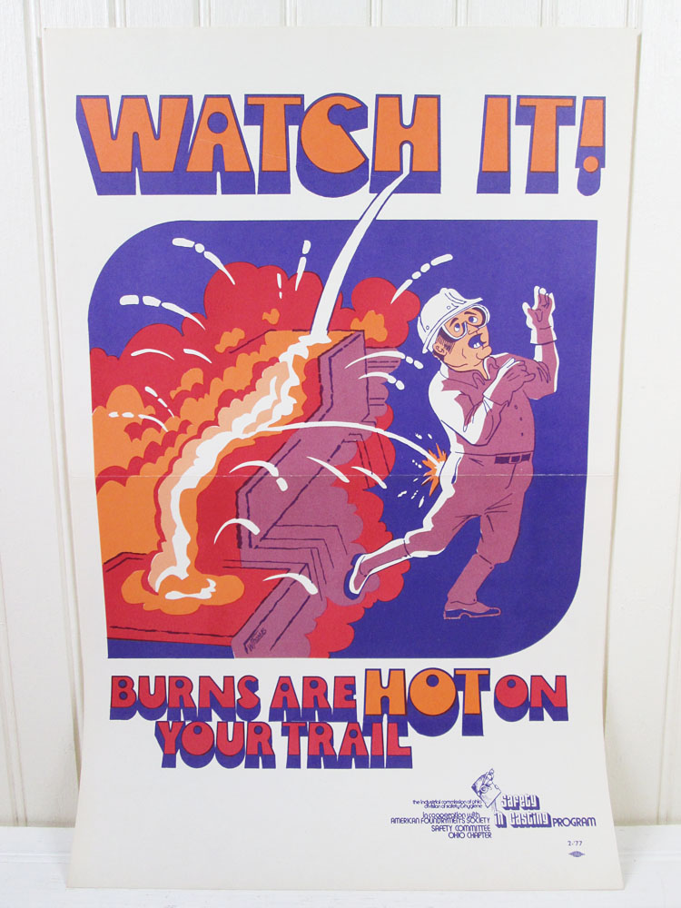 Vintage Safety Poster Work Workplace Industrial