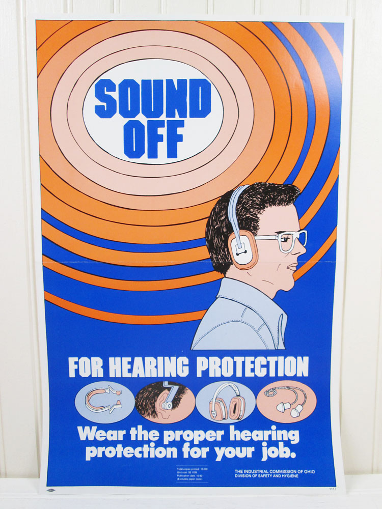 Vintage Workplace Safety Poster Hearing Protection
