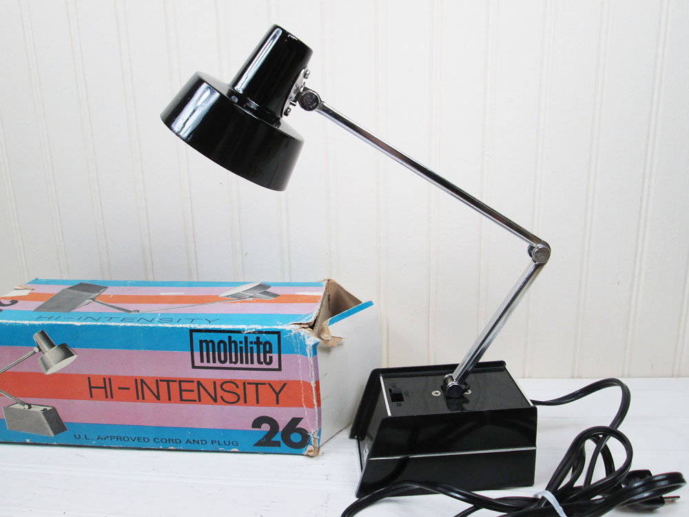 Vintage Mobilite Black Task Lamp In Box