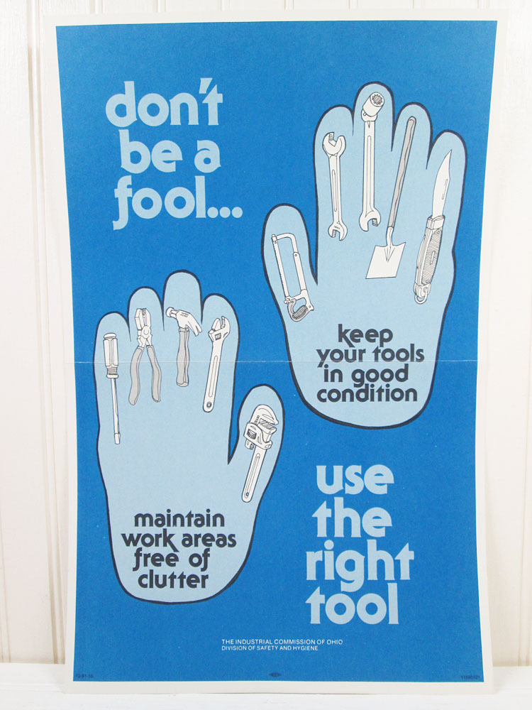Vintage Workplace Tools Safety Poster