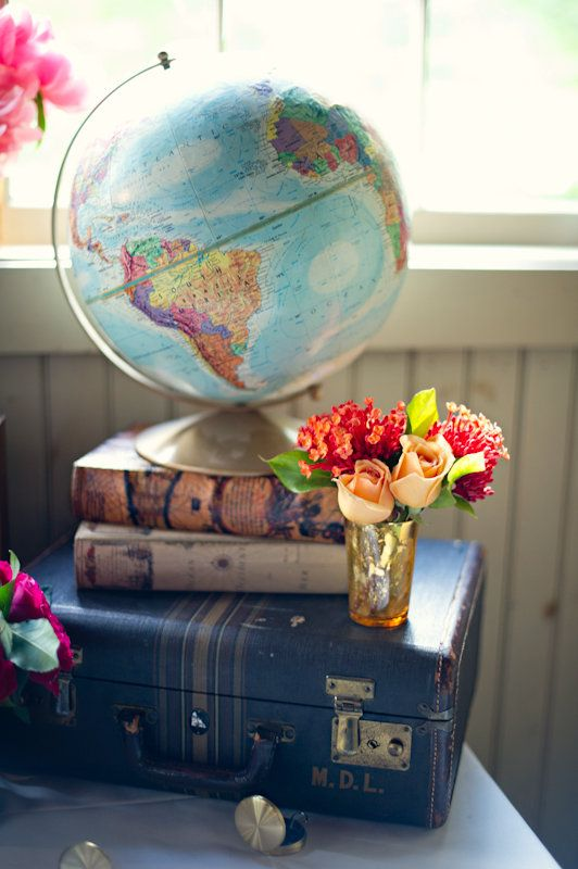 Vintage Globe And Suitcase