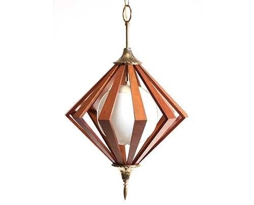 Mad Men Prop Auction Wooden Hanging Lamp