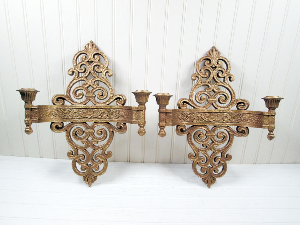Vintage Dart Industries Wall Sconce Candle Holder Set