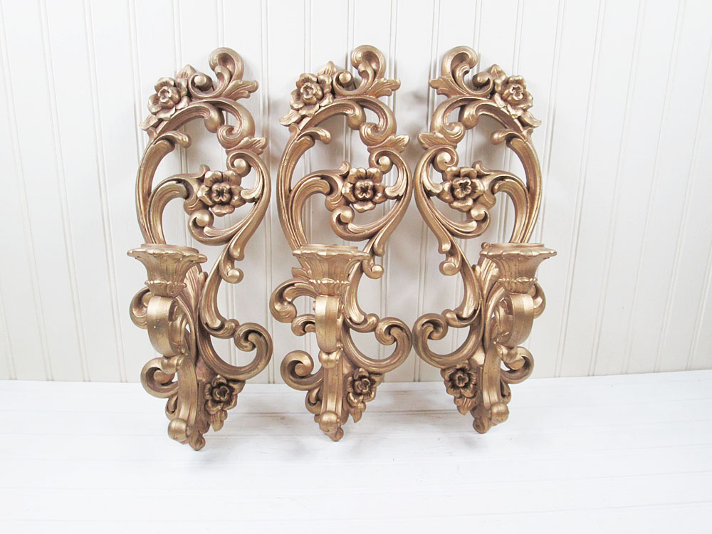 Vintage Homco Wall Sconce Candle Holder Set