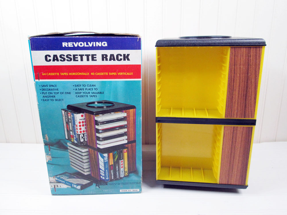 Vintage Revolving Cassette Tape Rack Holder Yellow Wood Grain Plastic Tabletop Box