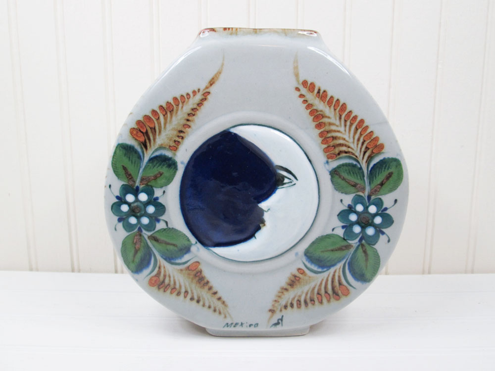 Artesanias Erandi Tonala Mexican Pottery Sun & Moon Flower Vase Made In Mexico
