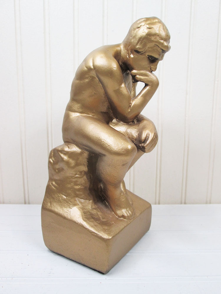 Vintage The Thinker Gold Chalkware Figurine Bookend Statue Esco Products 920