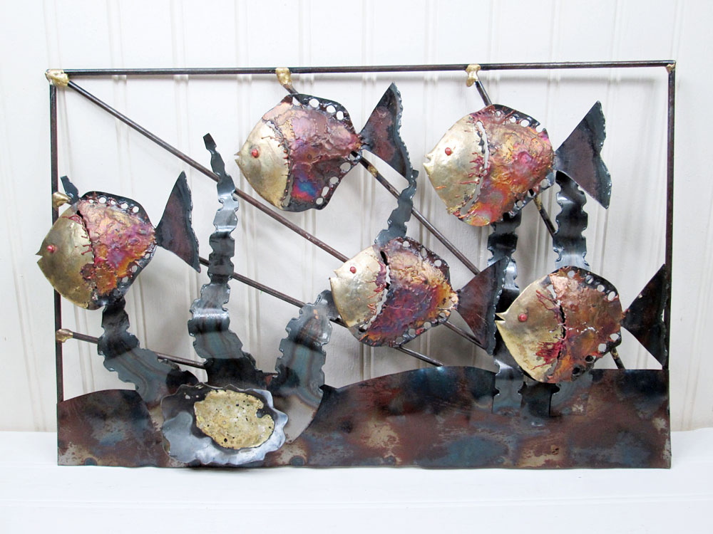 School Of Fish Metal Wall Hanging Art Sculpture Mid Century Modern Brutalist