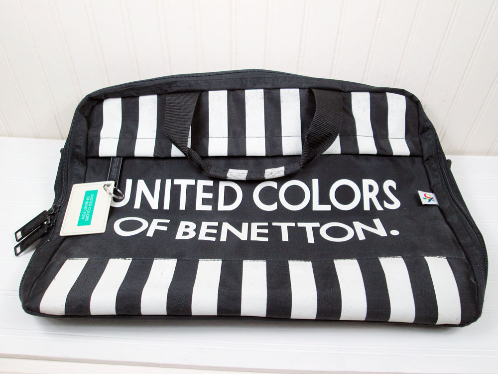 Vintage United Colors Of Benetton Nylon Briefcase Laptop Tote Bag Black White Stripe