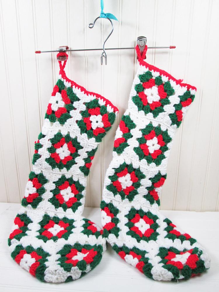 Vintage Granny Square Christmas Stockings Pair Set