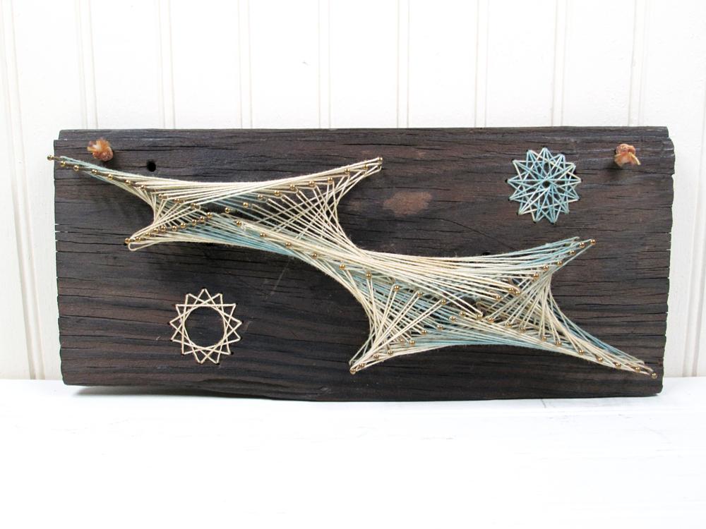 Vintage String Art Wall Hanging Wood Plaque Starburst