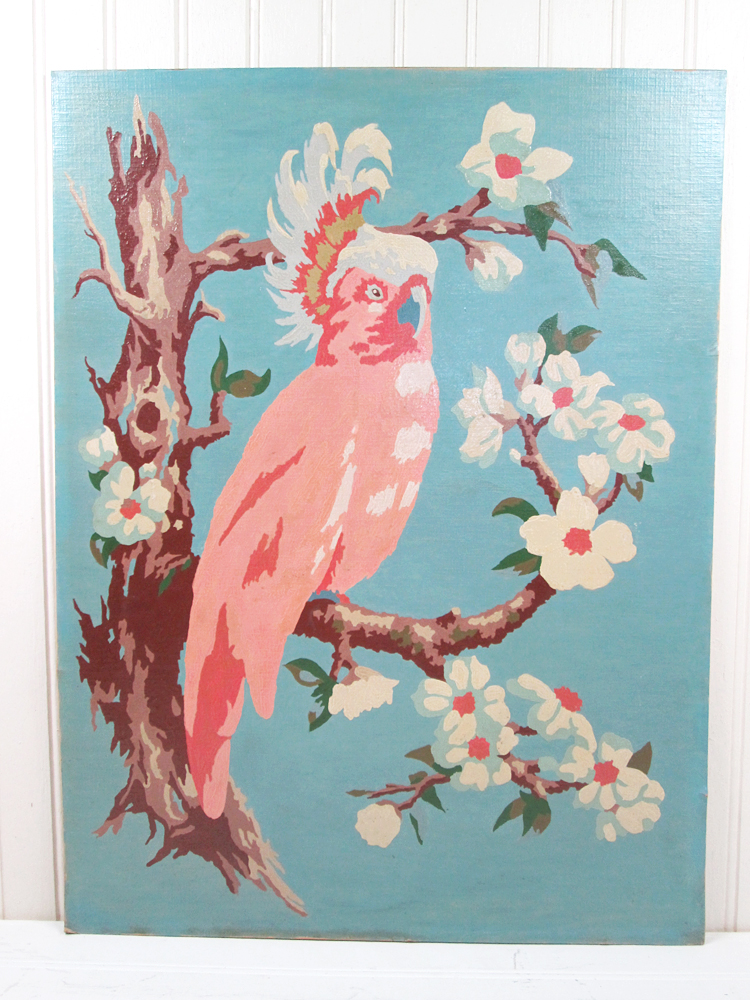 Vintage Cockatoo Bird Paint By Number Painting