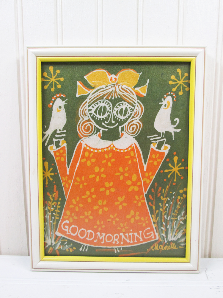 Marielle Seidel Batik Big Eye Girl Good Morning Print