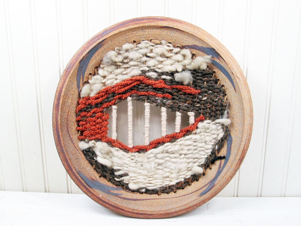 Vintage Woven Textile Art Plate Wall Hanging Plaque