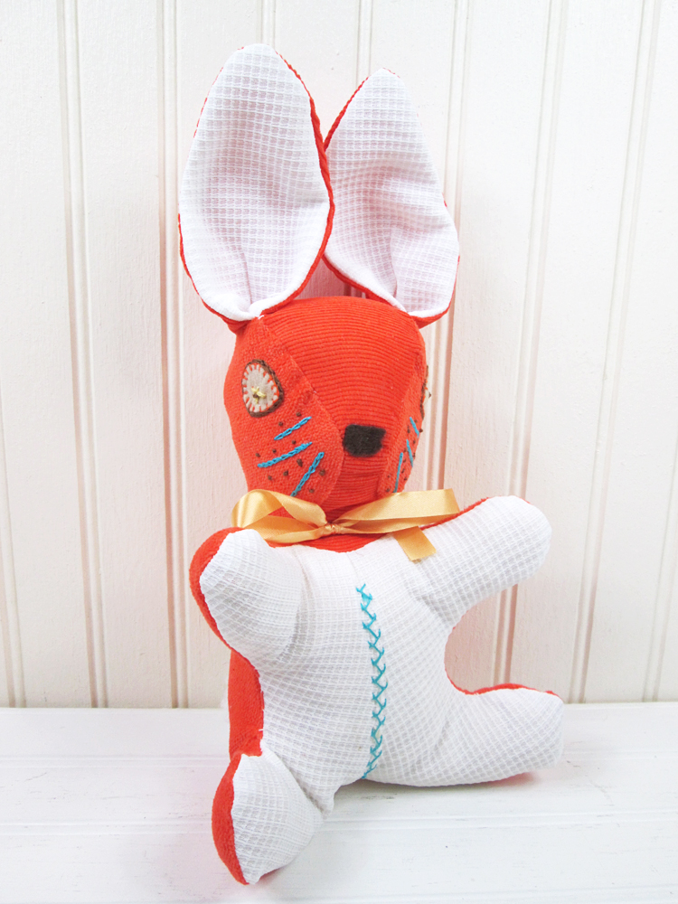 Vintage Stuffed Rabbit Plush Bunny Handmade Orange Corduroy
