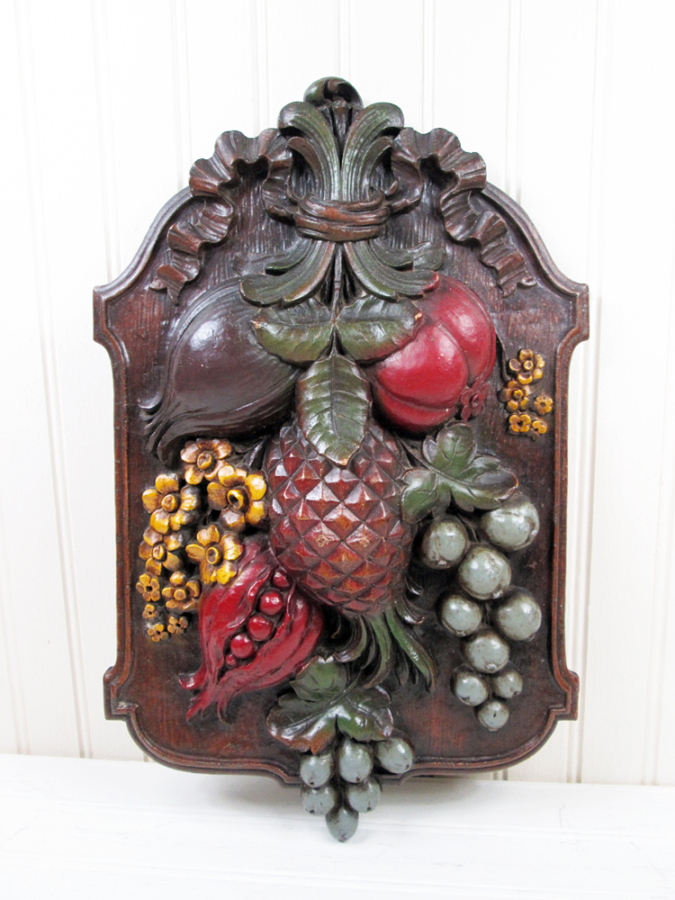 Vintage Syroco Wood Wall Hanging Art Plaque Fruit Flowers