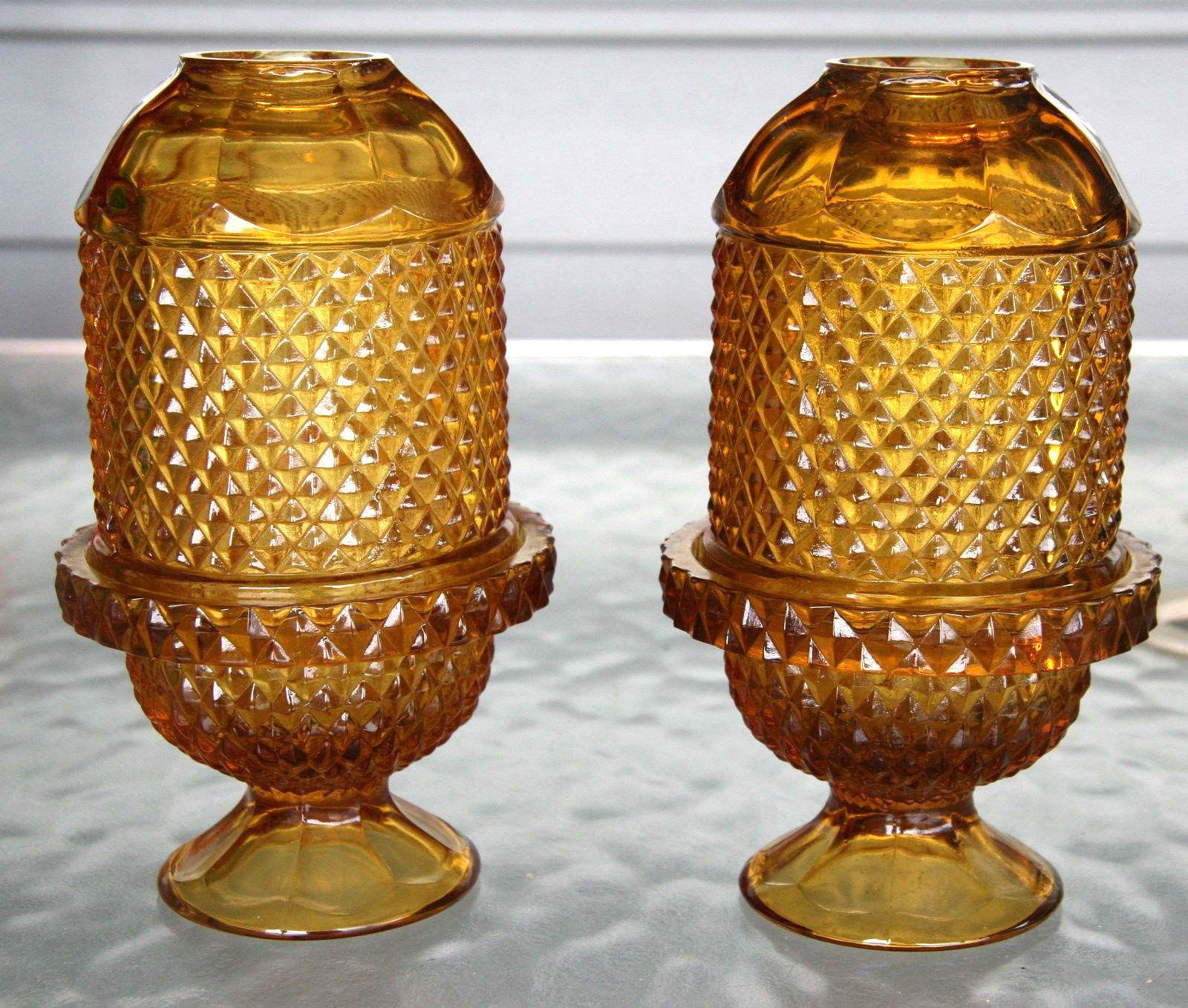 Viking Glass Amber Diamond Point Glimmer Fairy Lamps