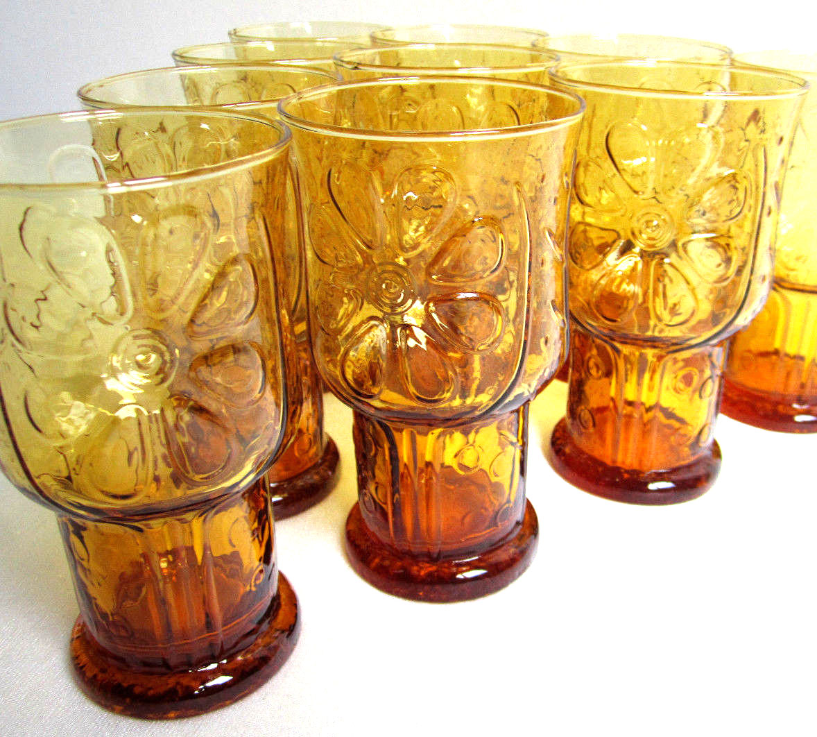 Vintage Libbey Glasses Country Garden Daisy Amber Set