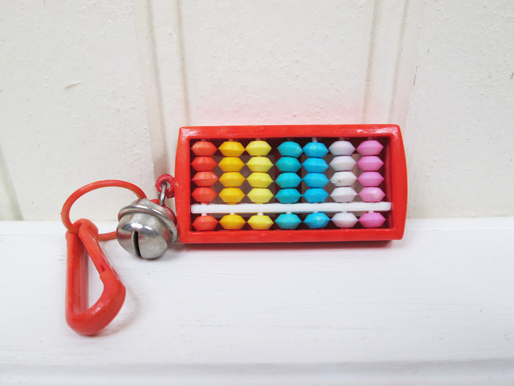 Vintage 80's Plastic Necklace Clip On Bell Charm Red Abacus